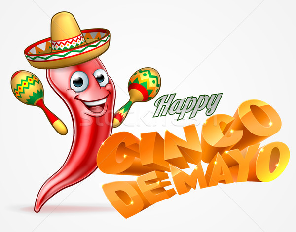 Stock photo: Happy Cinco De Mayo Chilli Pepper Mexican Design
