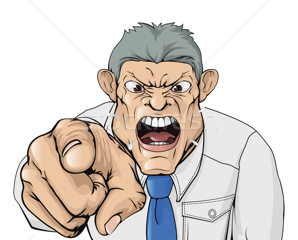Bullying boss shouting and pointing Stock photo © Krisdog