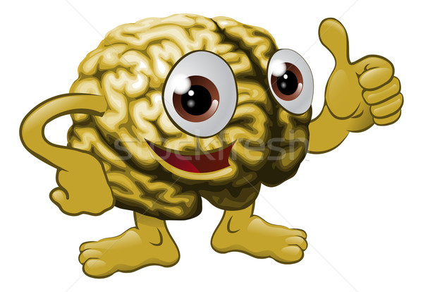 Hersenen illustratie teken gelukkig Stockfoto © Krisdog
