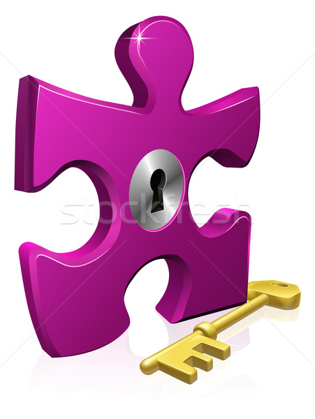 Lock and key jigsaw piece Stock photo © Krisdog