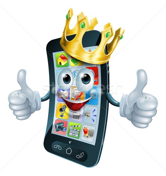 Cartoon phone man king Stock photo © Krisdog