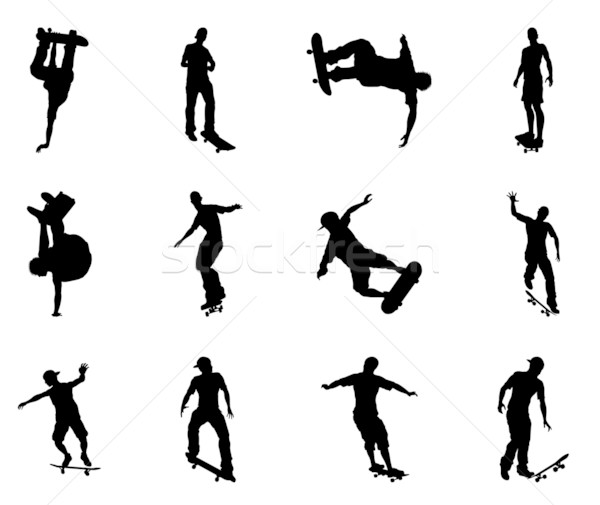 Stock photo: Skating skateboarder silhouettes
