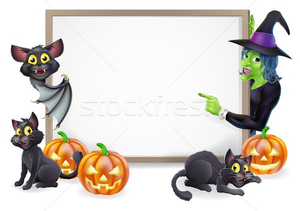 Witch and Vampire Bat Halloween Sign Stock photo © Krisdog