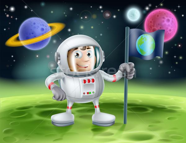Astronauta espacio exterior Cartoon ilustración cute Foto stock © Krisdog