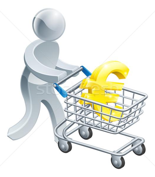 Person pushing trolley with euro sign Stock photo © Krisdog