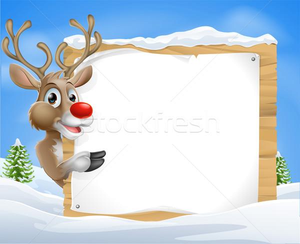 Cartoon reindeer Christmas Sign Stock photo © Krisdog