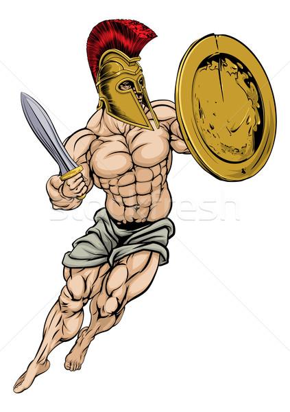 Trojan guerriero illustrazione muscolare forte sfondo Foto d'archivio © Krisdog