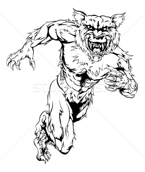оборотень волка спортивных талисман работает человека Сток-фото © Krisdog