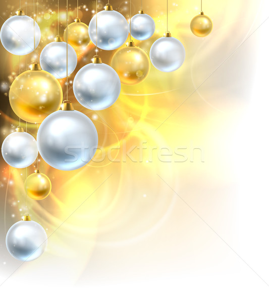 Christmas Baubles Gold and Silver Background Stock photo © Krisdog