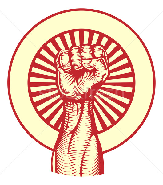 Stock photo: Soviet propaganda poster style fist