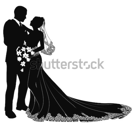 Wedding Bride Silhouette with Bouquet Stock photo © Krisdog