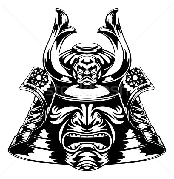 Samurai máscara japonês capacete ilustração arte Foto stock © Krisdog