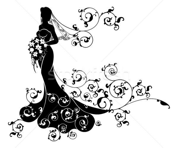 Wedding Flowers Bride Silhouette Pattern Stock photo © Krisdog