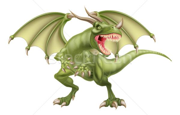 Dragão mitológico fantasia conto de fadas arte verde Foto stock © Krisdog