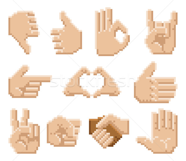 Pixel Art Hand Icons Stock photo © Krisdog