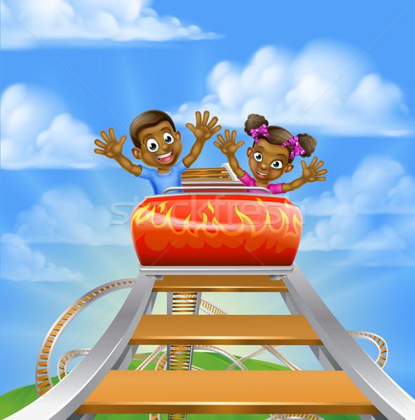Roller Coaster Cartoon Stock photo © Krisdog