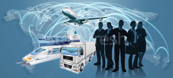 Squadra di affari logistica mappa del mondo volo piano camion Foto d'archivio © Krisdog