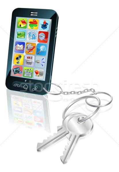 Teléfono acceso seguridad claves ilustración teléfono móvil Foto stock © Krisdog