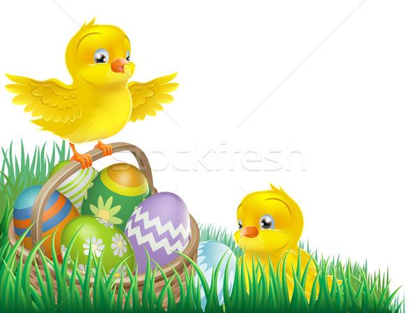 Húsvét kosárnyi tojás húsvéti tojás kosár izolált Stock fotó © Krisdog