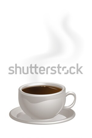 Steaming Coffee Cup on Saucer Stock photo © Krisdog