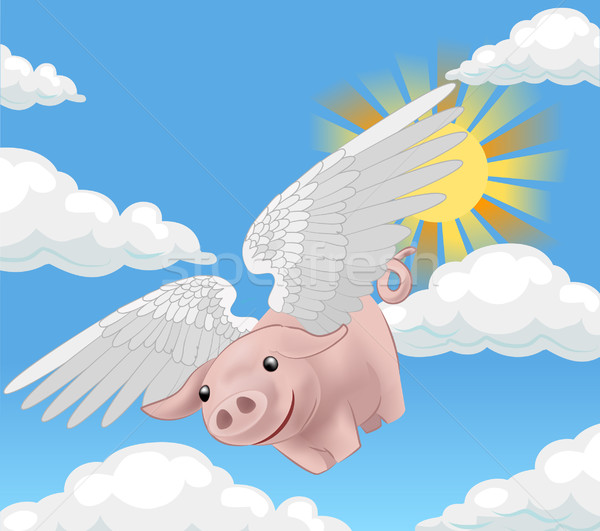 flying pig illustration Stock photo © Krisdog