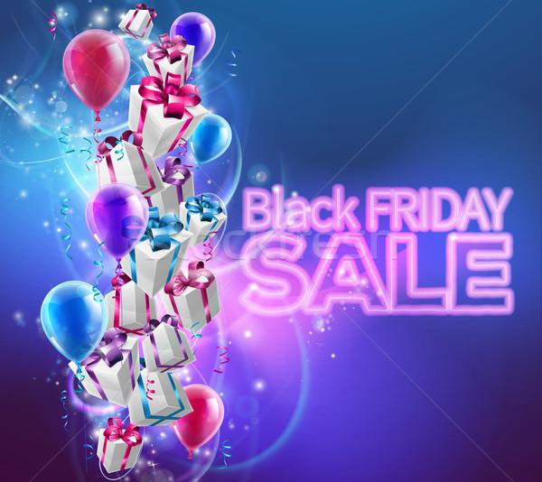 черная пятница продажи подарок представляет шаров неоновых Сток-фото © Krisdog