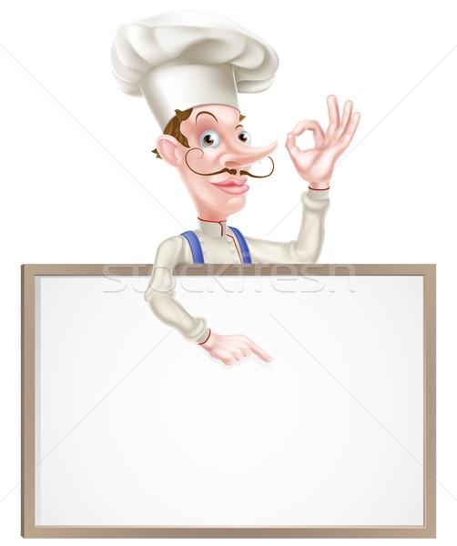 Szakács tökéletes felirat mutat illusztráció rajz Stock fotó © Krisdog
