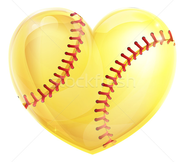 Coeur softball jaune balle amour Photo stock © Krisdog