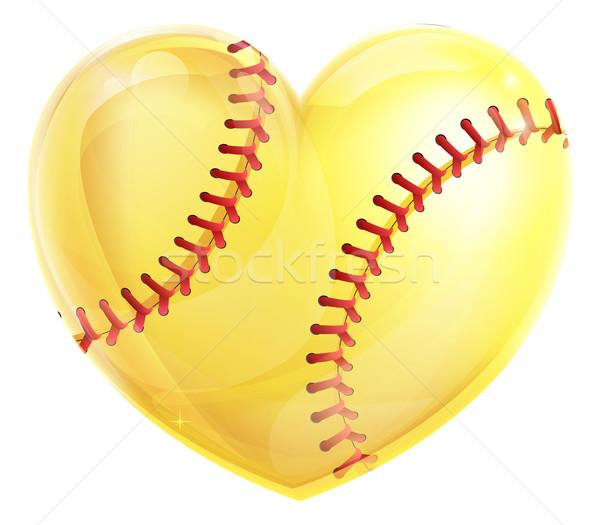 Hart softbal Geel bal liefde Stockfoto © Krisdog