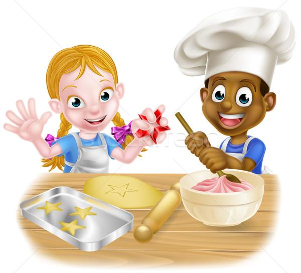 Cartoon Boy and Girl Baking Stock photo © Krisdog