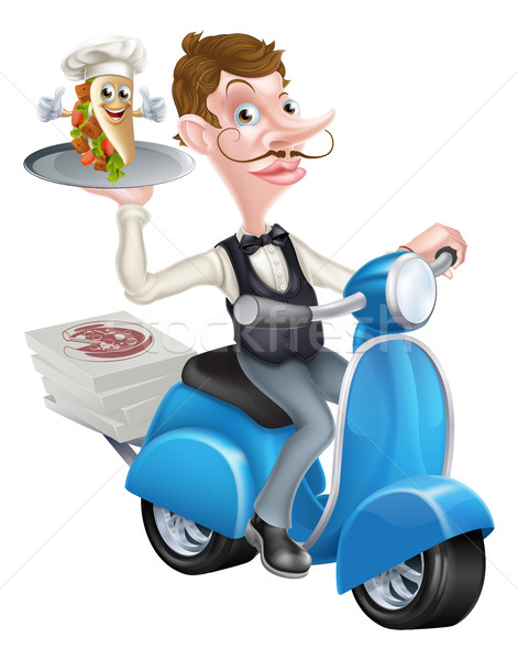 Cartoon Butler on Scooter Moped Delivering Souvlaki Stock photo © Krisdog