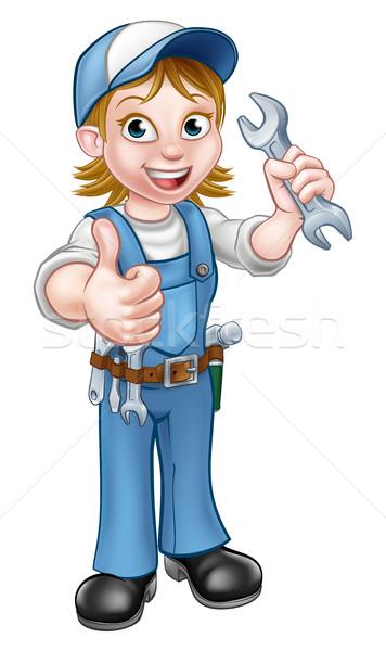 Női szerelő vízvezetékszerelő csavarkulcs ezermester rajzfilmfigura Stock fotó © Krisdog