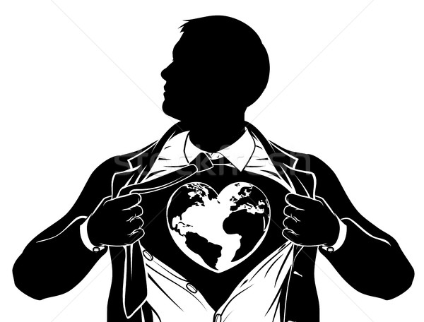 Globe Heart Business Superhero Tearing Shirt Chest Stock photo © Krisdog