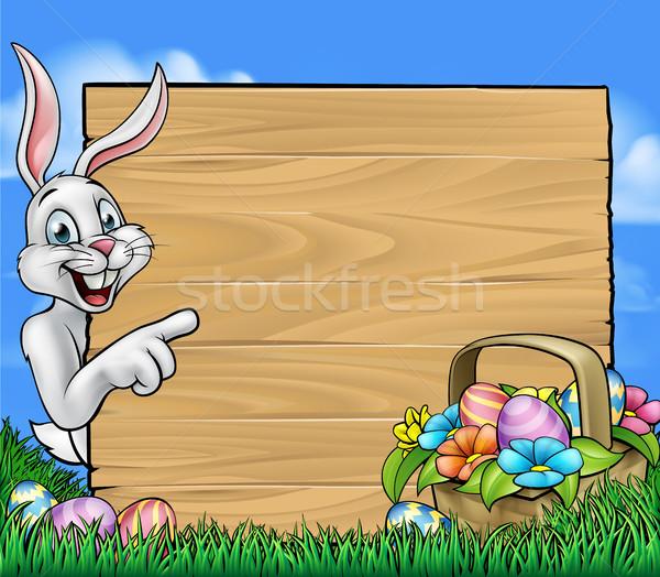 Osterhase Zeichen herum Hinweis legen Ostereier Stock foto © Krisdog