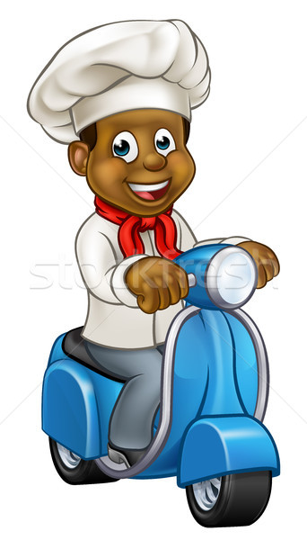 Cartoon Black Chef Delivery Moped Stock photo © Krisdog