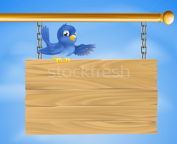 Blue bird on wooden sign Stock photo © Krisdog