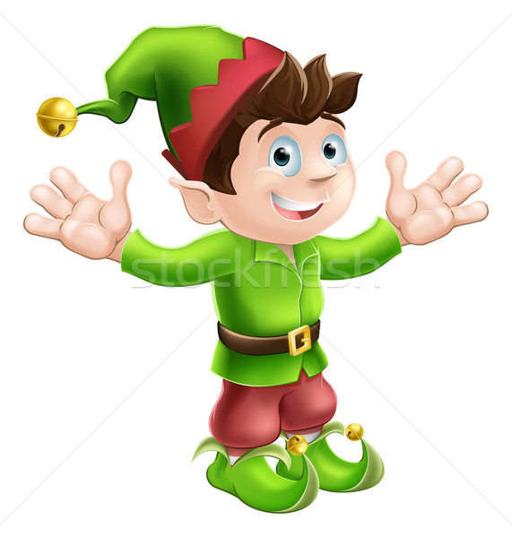 Christmas elf illustratie cute gelukkig Stockfoto © Krisdog