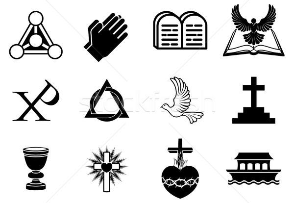 Stock fotó: Keresztény · ikon · szett · kereszténység · ikonok · szimbólumok · galamb