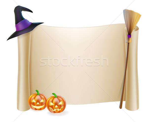 Halloween blättern Zeichen Hexenhut Besenstiel orange Stock foto © Krisdog