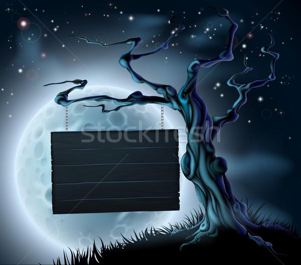 Halloween Wooden Sign Background Stock photo © Krisdog