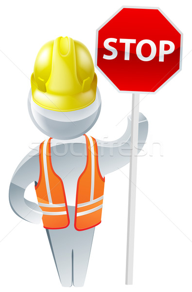 Stock fotó: Stoptábla · visel · citromsárga · védősisak · magas · láthatóság