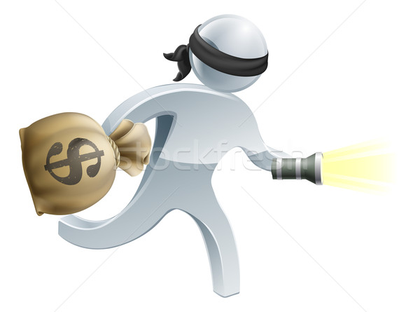 Dief geld flash licht inbreker gezicht Stockfoto © Krisdog