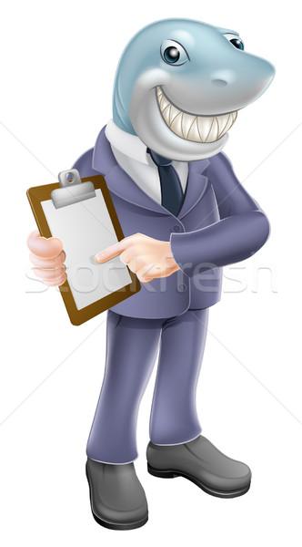 Işadamı köpekbalığı sözleşme örnek karikatür iş adamı Stok fotoğraf © Krisdog