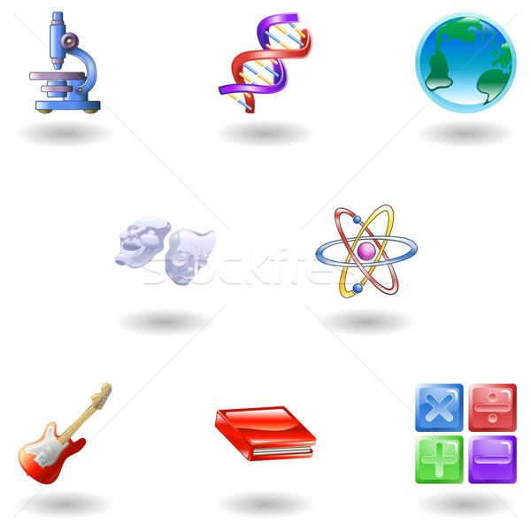 Glanzend onderwijs web icons wetenschap wiskunde Stockfoto © Krisdog