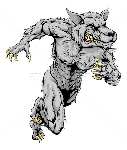 Werewolf wolf sports mascot running Stock photo © Krisdog