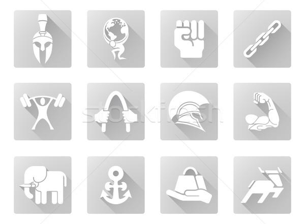 Sterkte iconen sterke moderne schaduw Stockfoto © Krisdog