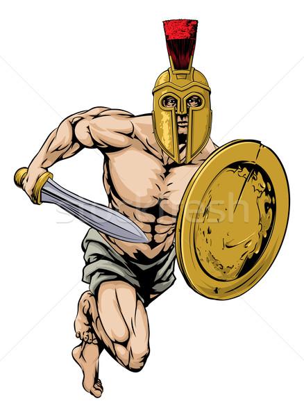 Spartan personnage illustration gladiator guerrier sport Photo stock © Krisdog