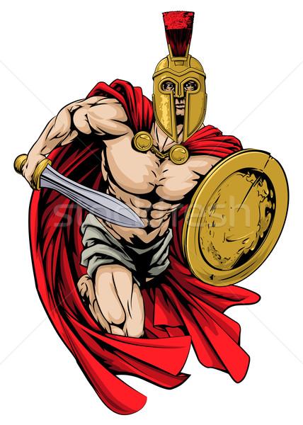 Spartan guerrier mascotte illustration personnage sport Photo stock © Krisdog