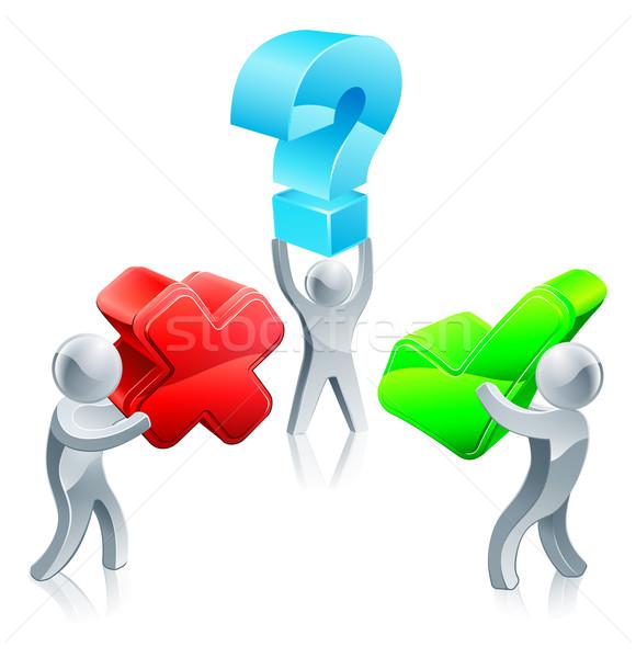 Verkeerd beslissing vraag drie mensen Stockfoto © Krisdog