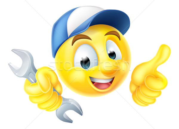 Mechanic Plumber Spanner Emoticon Emoji Stock photo © Krisdog